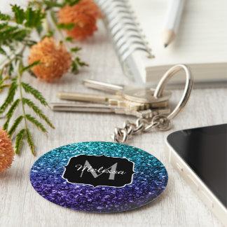 Aqua blue Ombre glitter sparkles Monogram Keychain