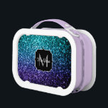 """Aqua blue Ombre glitter sparkles Monogram Lunch Box<br><div class=""""desc"""">Personalize with your initial and name. Beautiful girly glamorous dark and light blue shiny glitters sparkles. Photo of cyan and dark blue sparkles not actual glitter!</div>"""