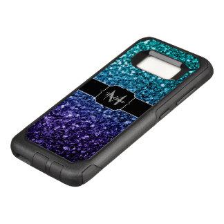 Aqua blue Ombre glitter sparkles Monogram OtterBox Commuter Samsung Galaxy S8 Case