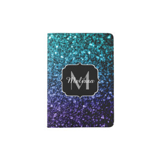Aqua blue Ombre glitter sparkles Monogram Passport Holder