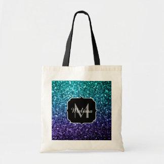 Aqua blue Ombre glitter sparkles Monogram Tote Bag