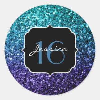 Aqua blue Ombre glitter sparkles Sweet 16 Classic Round Sticker
