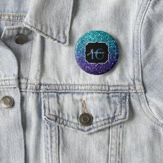 Aqua blue Ombre glitter sparkles Sweet 16 Pinback Button