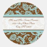 Aqua Blue on Brown Damask Address Wedding Stickers