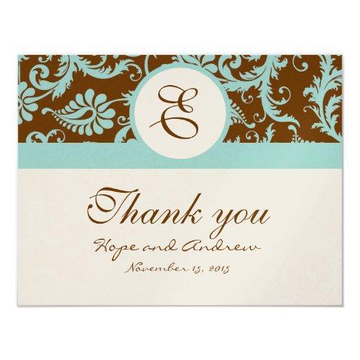 "Aqua Blue on Brown Damask Wedding Thank You Cards 4.25"" X 5.5"" Invitation Card"
