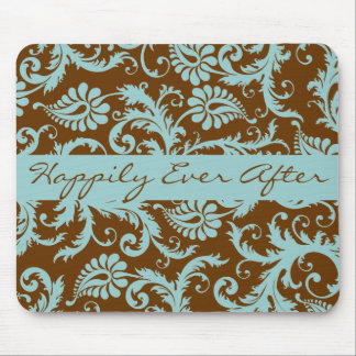 Aqua Blue on Brown Wedding Mousepad Gifts