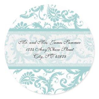 Aqua Blue on White Damask Address Wedding Stickers sticker