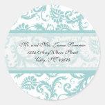 Aqua Blue on White Damask Address Wedding Stickers