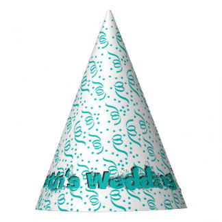 Aqua Blue On White Party Streamers Wedding Party Party Hat