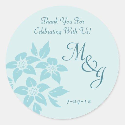 Aqua Blue or Teal Damask Wedding Favor Labels Classic Round Sticker