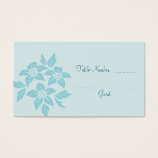 Aqua Blue or Teal Damask Wedding Table Place Cards