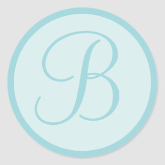 Aqua Blue or Teal Monogrammed Envelope Seals Classic Round Sticker