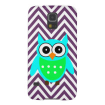 Aqua Blue Owl Purple Chevron Case For Galaxy S5