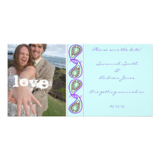 Aqua Blue Paisley Save the Date with Your Photo Photo Card Template