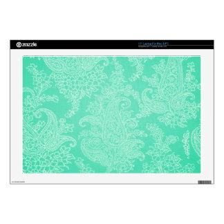 "Aqua blue paisley tree flower cloth pattern 17"" laptop decal"