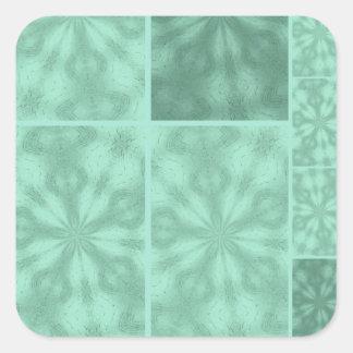 Aqua Blue Pattern Square Sticker