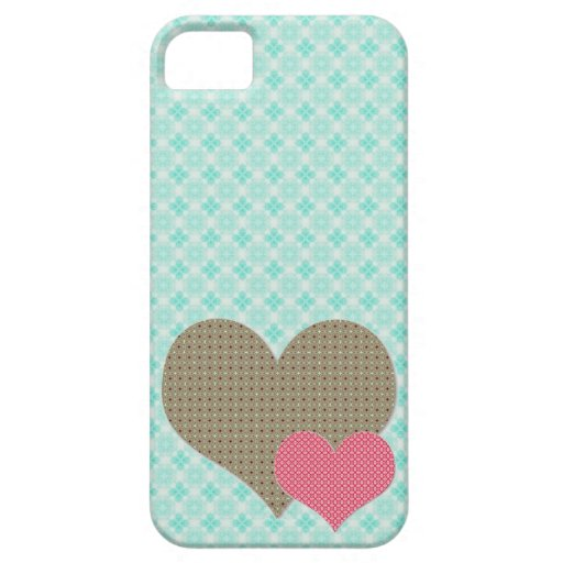 Aqua blue pattern with brown and save pattern hear iPhone 5 cases