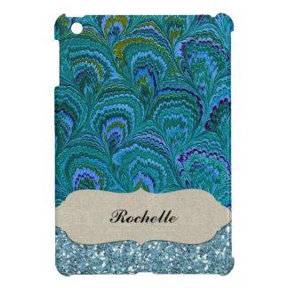 Aqua Blue Peacock Feather Glitter Personalized iPad Mini Covers