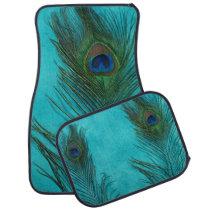 Aqua Blue Peacock Feather Still Life Car Mat