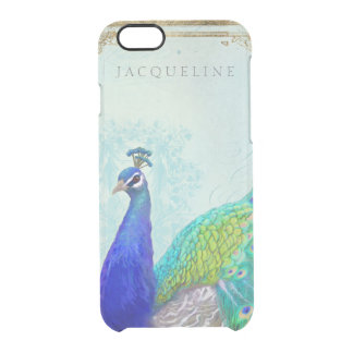 Aqua Blue Peacock Vintage Style Scroll Typography Clear iPhone 6/6S Case