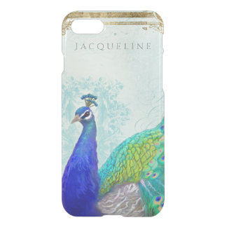 Aqua Blue Peacock Vintage Style Scroll Typography iPhone 8/7 Case