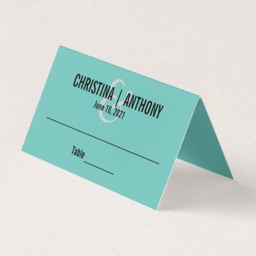 McTiffany Tiffany Aqua Aqua Blue Personalized Wedding Place Card