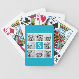 Aqua Blue Photo Collage Custom Monogram Bicycle Playing Cards