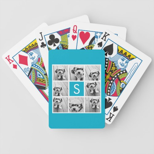 Aqua Blue Photo Collage Custom Monogram Bicycle Playing Cards
