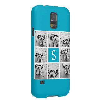 Aqua Blue Photo Collage Custom Monogram Galaxy S5 Case