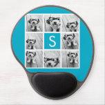 Aqua Blue Photo Collage Custom Monogram Gel Mouse Pad