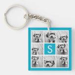 Aqua Blue Photo Collage Custom Monogram Single-Sided Square Acrylic Keychain