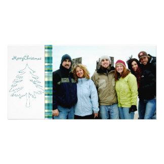 Aqua Blue Pine Tree & Plaid Merry Christmas Card