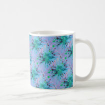 Aqua Blue Pink Star Abstract Art Acrylic Painting Coffee Mug