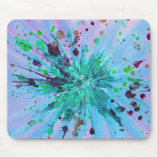 Aqua Blue Pink Star Abstract Art Acrylic Painting Mouse Pad