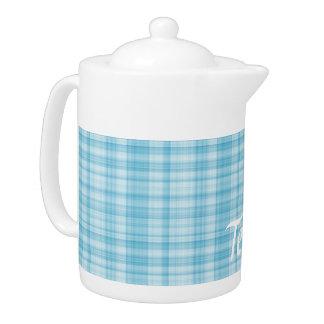 Aqua Blue Plaid Teapot