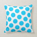 Aqua Blue Polka Dot American MoJo Pillow