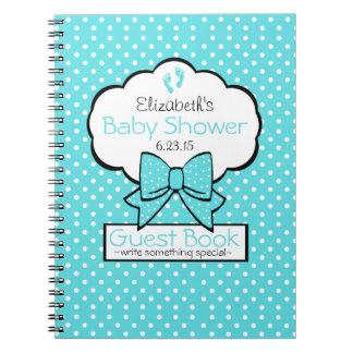 Aqua Blue Polka Dot Baby Shower Guest Book - Notebook