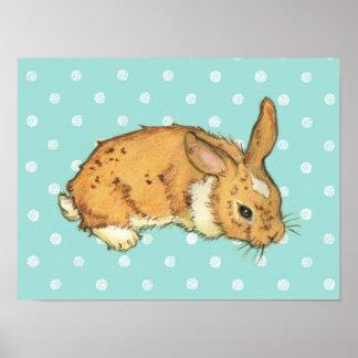 Aqua Blue Polka Dot Bunny Poster