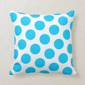 Aqua Blue Polka Dot Throw Pillow