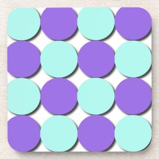 Aqua & Blue Polka Dots Beverage Coasters