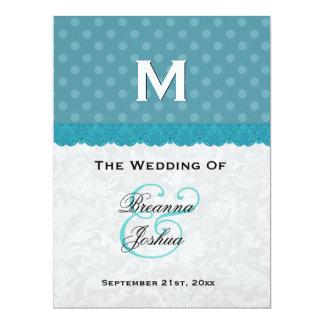 "Aqua Blue Polka Dots Damask Wedding Program V01 6.5"" X 8.75"" Invitation Card"