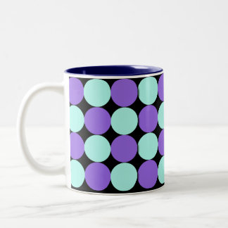 Aqua & Blue Polka Dots Two-Tone Coffee Mug