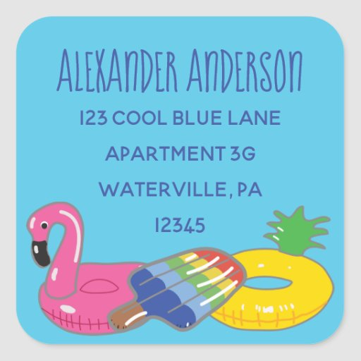 Aqua Blue Pool Floats Square Return Address Labels