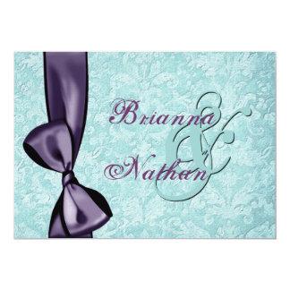 Aqua Blue Purple Damask Bow Wedding Invitation