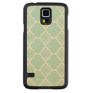 Aqua Blue Quatrefoil Geometric Pattern Carved Maple Galaxy S5 Case