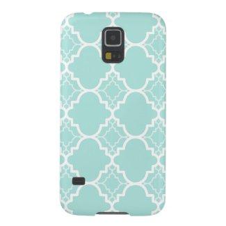 Aqua Blue Quatrefoil Geometric Pattern Galaxy S5 Cover