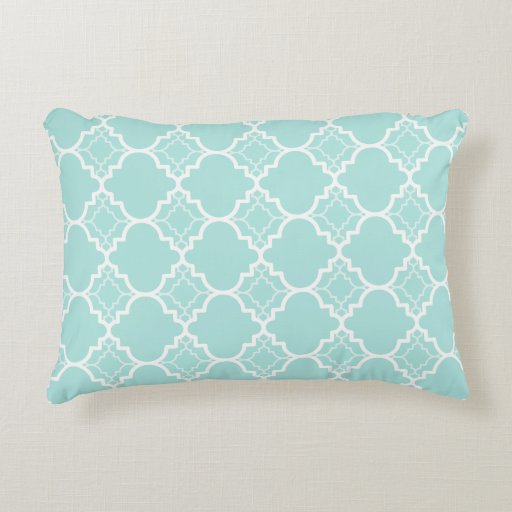 Quatrefoil Decorative Pillow : Aqua Blue Quatrefoil Geometric Pattern Decorative Pillow Zazzle