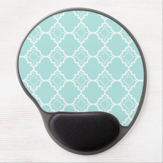 Aqua Blue Quatrefoil Geometric Pattern Gel Mouse Pad
