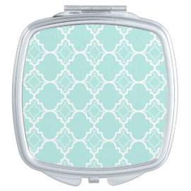 Aqua Blue Quatrefoil Geometric Pattern Compact Mirrors