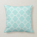 Aqua Blue Quatrefoil Geometric Pattern Throw Pillow